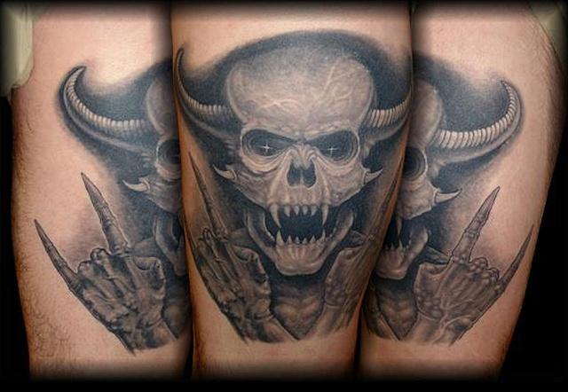 tattoo evil demon skull horns dark tattoo salisbury maryland