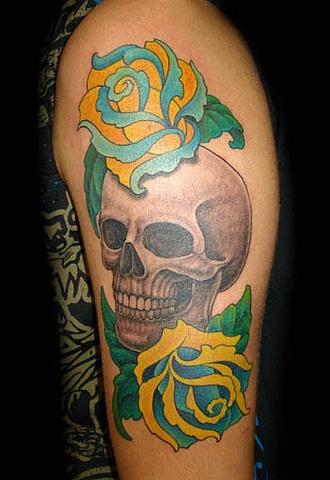 tattoo skull flowers roses traditional tattoos salisbury maryland