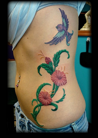 tattoo bird flowers vines tattoos salisbury maryland