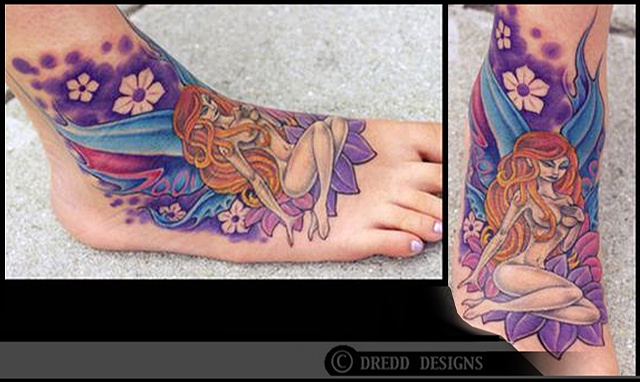 tattoo faerie foot color flowers fairy tattoos salisbury maryland