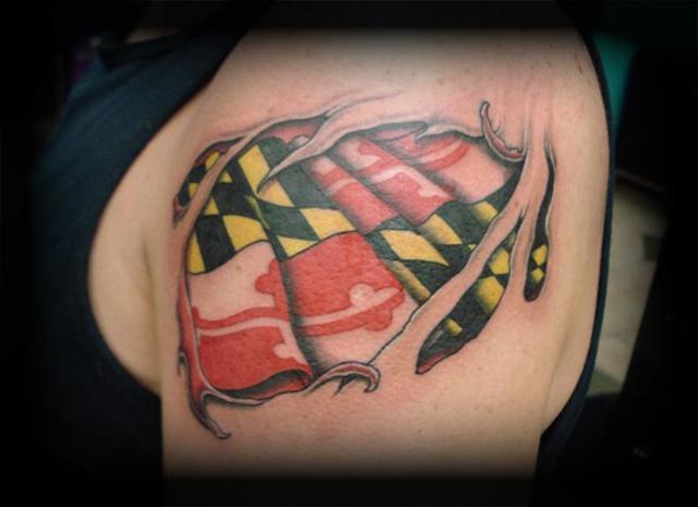 flag tattoos crucial tattoo studio salisbury maryland ocean city md delaware