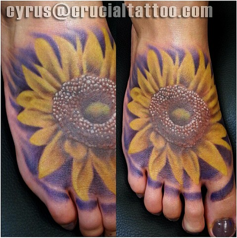 cyrus high tattooer crucial tattoo studio ocean city maryland delaware virginia best tattoos sunflower flower foot