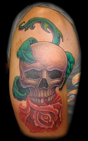 rose skull tattoo roses tattoos salisbury maryland