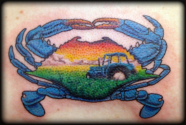 crab tattoos crucial tattoo studio salisbury maryland ocean city md delaware