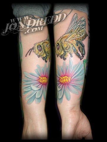 bee flower crucial tattoo studio salisbury maryland delaware jon dredd kellogg tattoos