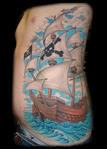 pirate ship tattoo water sails tattoos salisbury maryland