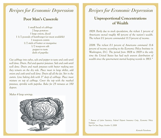 Recipes For Economic Depression  (Recipe Card)