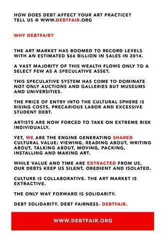 Debtfair Handout, Momenta Art (back cover) Manifesto