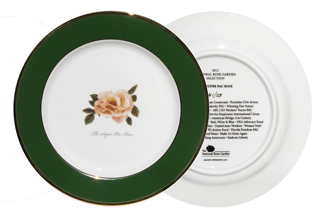 The 2012 National Rose Garden Commemorative Plate honoring the Super PAC Rose