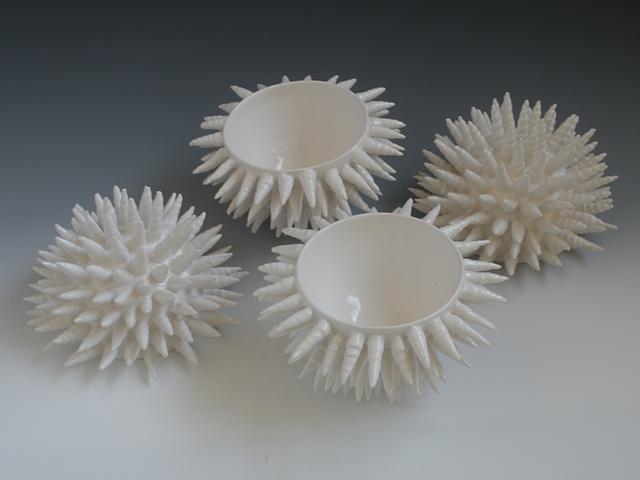 katherine dube, ceramic fine art, porcelain, vases, vessels, organic, science, pottery, ceramics, contemporary, modern, white