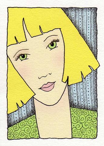 girl woman blond green blue eyes