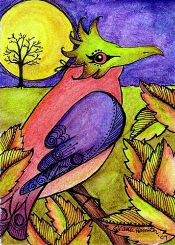 bird mask moon Halloween masquerade leaves autumn