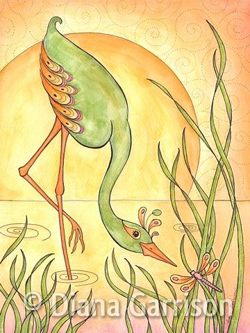 bird, waterfowl, sunset, dragonfly