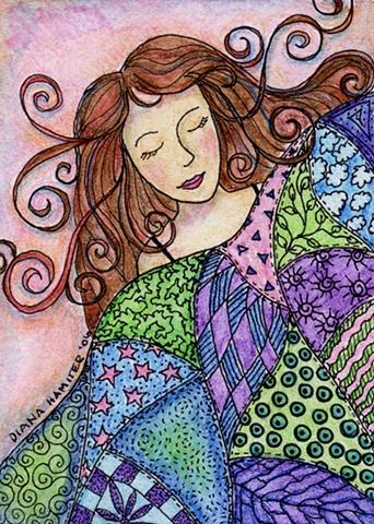 sleeping goddess woman quilt patchwork asleep cool