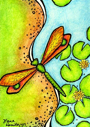 dragonfly lilypad pond flower bank green blue orange flight flying whimsy whimsical
