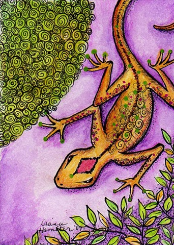 lizard mardi gras purple green gold gecko speckled whimsy whimsical growth