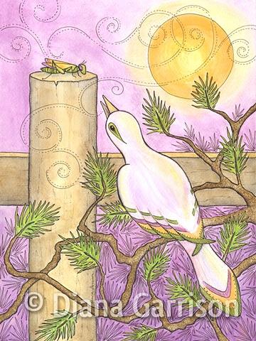 bird, mockingbird, cricket, duet, dinner, fence