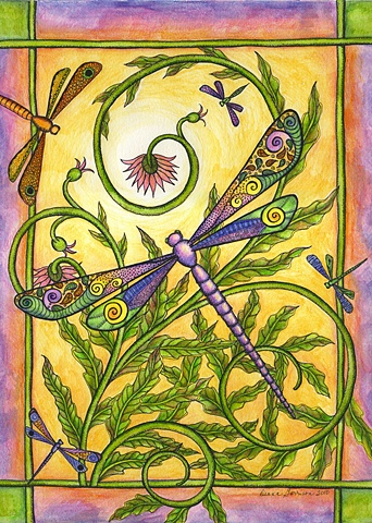 dragonfly paisley pastel fern yellow green lavender gold purple growth flower whimsy whimsical