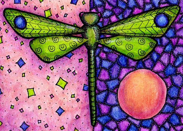 dragonfly green purple pink orange flight flying mosaic stained glass