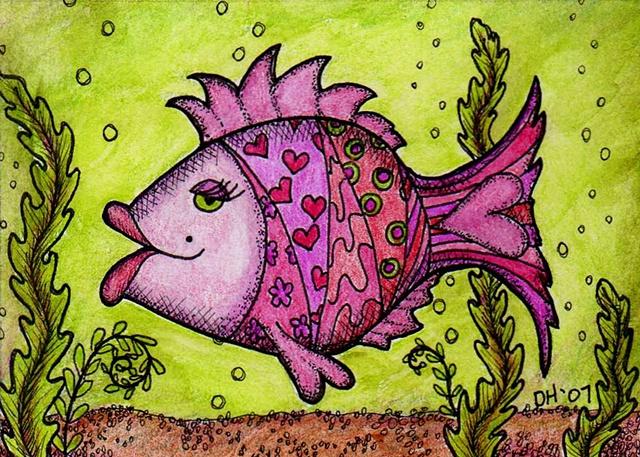 fish fishy fishylicious pink lips hearts green magenta