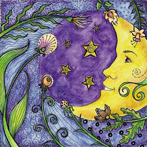 moon dance flowers night stars wind whimsy whimsical