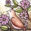 Brown Bird, Pink Flowers