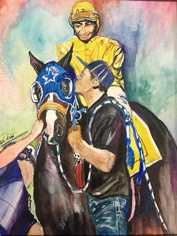 "Watercolor painting of ""Winner's Circle"" a commissioned piece by Michael Gross Grant Colorado Artist"