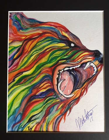 """Bear"" 8x10 matted original watercolor by Michael Grant $100 +shipping"