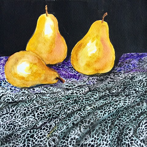 Three Pears on Lace