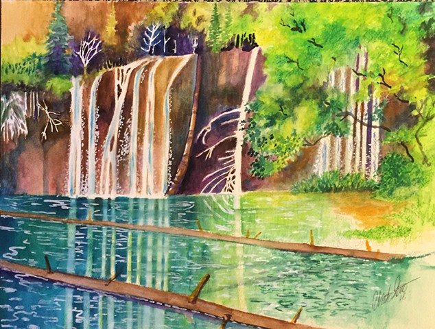 Watercolor painting of Hanging Lake near Glenwood Springs Colorado by Michael Gross Grant Colorado Artist
