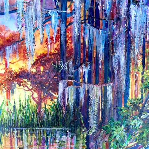 """Cypress Swamp"" Original Acrylic Painting by Michael Grant $200 + shipping"