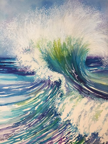 "Watercolor & acrylic painting "" Seascape "" Moment in Time"" by Michael Gross Grant Colorado Artist"