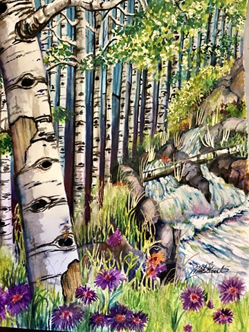 "Watercolor painting ""Spring Hike"" an observation of nature. Plein, Air by Michael Gross Grant Colorado Artist"