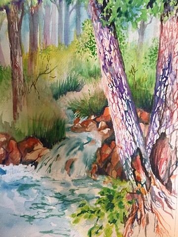 "Watercolor painting ""Solitude"" an observation of nature. Plein, Air by Michael Gross Grant Colorado Artist"