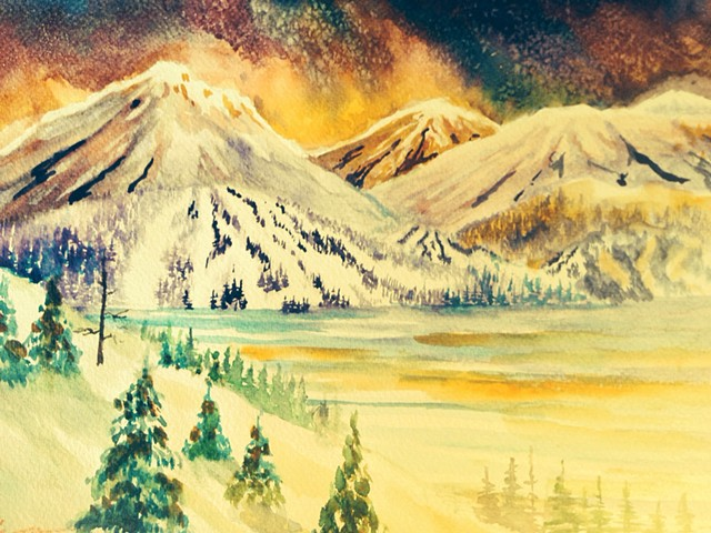 Ski Country. Original Watercolor. Framed