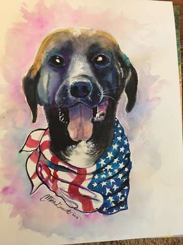 Watercolor painting. Commissioned pet portrrait, by Michael Gross Grant Colorado Artist