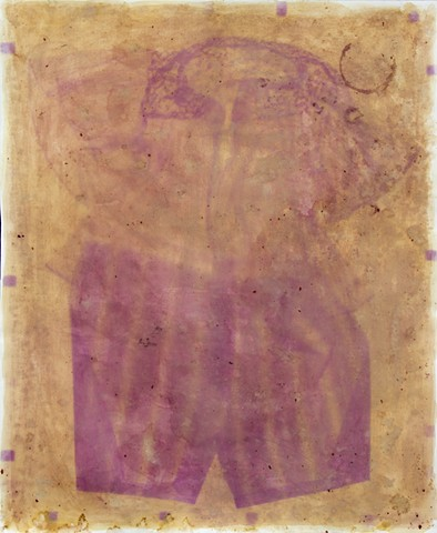 Anthotype made using red rose petals
