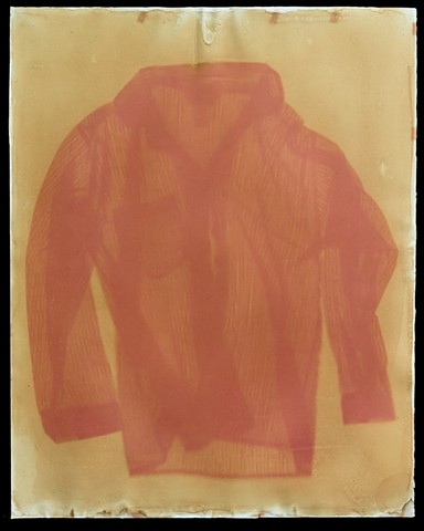 Six week anthotype exposure made with yellow onion skin and beet juice  emulsion and a a striped pajama top.