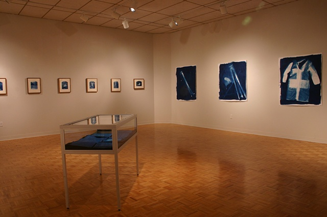 Installation documentation of cyanotypes at Wright State