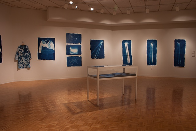 Installation documentation of cyanotypes at Wright State (Experimental Gallery)
