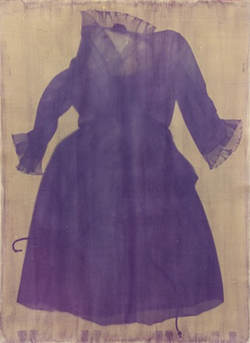 anthotype photogram made from an emulsion made from purple iris petals