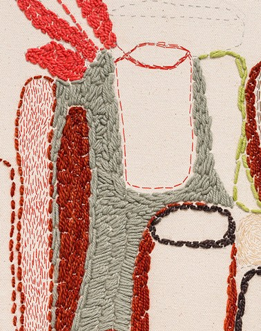 detail:  Dishes (sewn study no. 1)