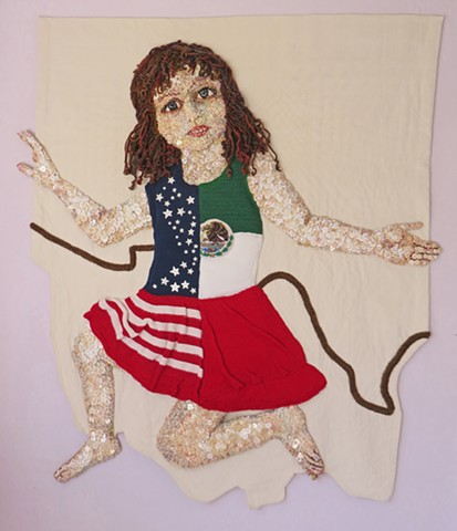 Child/figurative/immigration/SanFrancisco/Fiber/Buttons/quilting/wall hanging