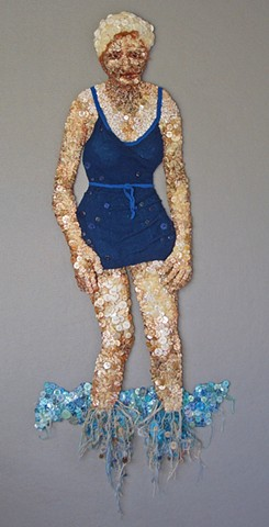 3-D mixed media wall artwork of female in bathing suit during the late 1940s.