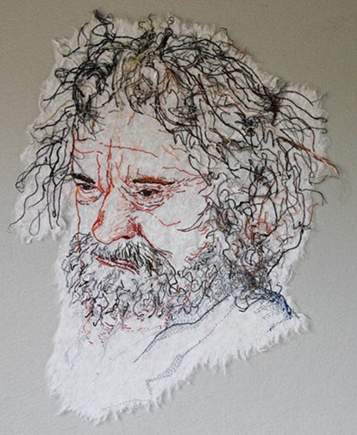 Emberoidery portrait of older man