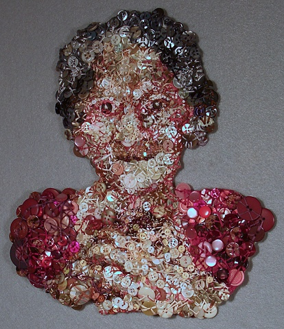 Clara:  Mixed Media buttonwork portrait by Marie Bergstedt