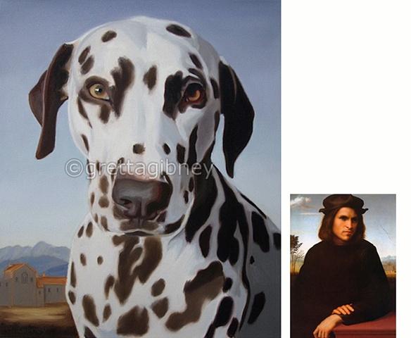 portrait painting of a dalmatian