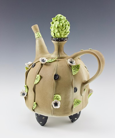 Fanciful porcelain teapot by Laura Peery