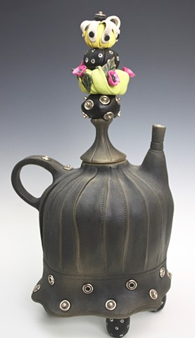 Porcelainand mixed media teapot by Laura Peery