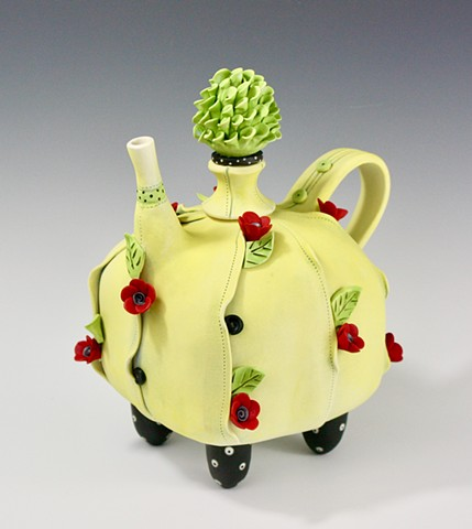 Porcelain teapot with soft texture and flower detail by Laura Peery